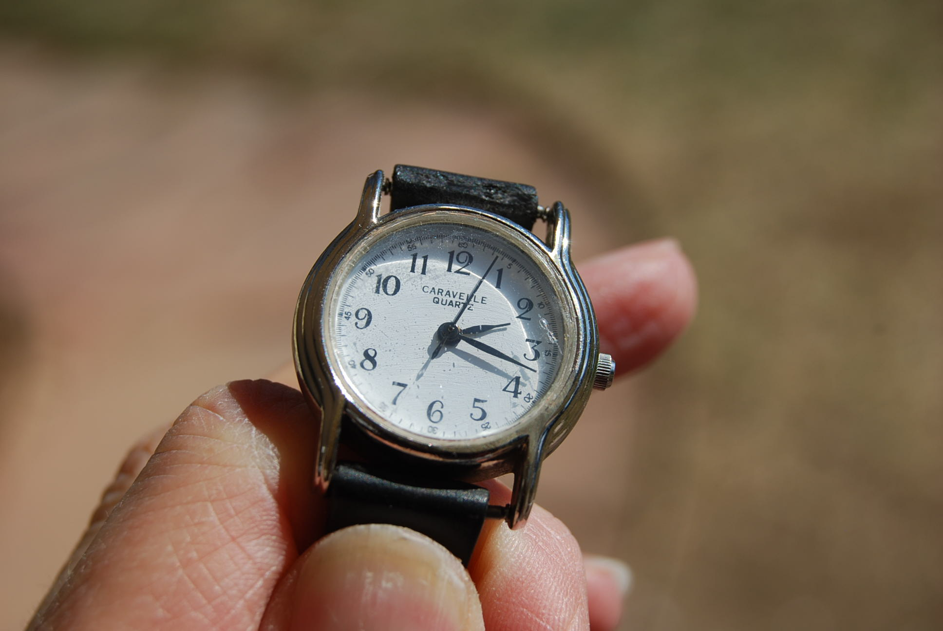 Vintage watch after restoring etched glass with cerium oxide