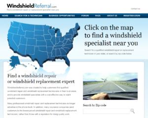 WindshieldReferral.com Webpage image